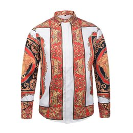 Wholesale White Rose Sweater - HOT 2017 Autumn winter Harajuku Medusa gold chain Dog Rose print shirts Fashion Retro floral sweater Men long sleeve tops shirts