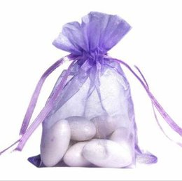 Wholesale Candy Bags For Weddings - 100 Pcs Light Purple Organza Jewelry Gift Pouch Bags 9X12cm ( 3.5 x 4.7 inch) Drawstring Organza for DIY Gift Candy Beads