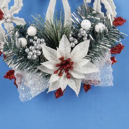 Corona di capelli bianchi online-Ghirlanda dell'albero di Natale Decorazione natalizia Regalo Ghirlande Arazzi Corona natalizia bianca Anello Base Porta appesa Capelli sintetici