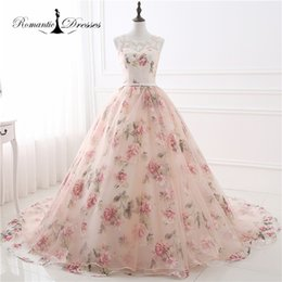 Wholesale Patterns Pictures - Real Photos Pattern Organza Peach Color Ball Gown Prom Dresses Long Sleeveless Women Evening Party Gowns 2017
