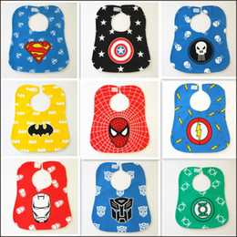 Wholesale Cartoon Super Heroes - Super hero baby bib cartoon modelling waterproof saliva towel wipes bib comic cartoon burp cloths free shipping