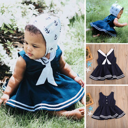 Wholesale Girls Sailor Style Dress - Kid Girl Navy Dress Sailor Collar Baby Kids Clothing Striped Brief Dresses Boutique Clothes Girls Beach Costumes Sundress Preppy Skirt 2-7Y