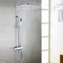Wholesale Bathroom Shower Handles - Chrome Rain Shower Head Brass Hand Shower Holder Thermostatic Bath Mixer Valve Exposed Bathroom Shower Faucet Set