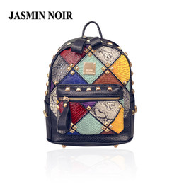 Wholesale Back Bags For Girls - Wholesale- 2016 Spring New Small Women Backpacks Rivet Patchwork School Bag Panelled brand designer Fashion ladies back Bag for girls