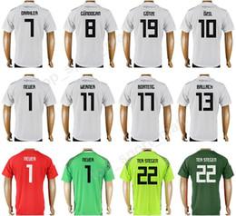 Wholesale Germany Army - 2018 Soccer Word Cup Germany Manuel Neuer Jerseys 19 GOTZE 13 Gerd Muller Football Shirt Kit 10 OZIL 7 SCHWEINSTEIGE 8 KROOS 5 Mats Hummels