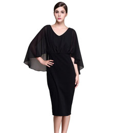 eb643e6013c Plus Size S to XXXL Black Chiffon Cloak Batwing 3 4 Sleeve Knee-length  Sheath Dresses Women Spring Summer 2017