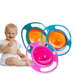 Wholesale Gyro Bowls - Baby Bowl 360 Rotate Universal Gyro Spill-Proof Bowl New Baby UFO Top Bowl Dishes High Quality Children Feeding Toys Dishes Funny Gift
