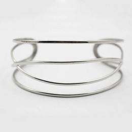 Wholesale Metal Rattan - Women Simple Fine Cuff Bangles 316L Stainless Steel Knitted Twisted Metal Rattan Bangles Fashion Women Female Jewelry