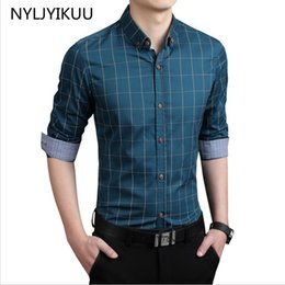 Wholesale Wholesales Men Dress Clothing - Wholesale- Men casual shirts slim fit M-3XL 100% cotton fashion mens dress shirts male clothes social shirt men long sleeve shirt