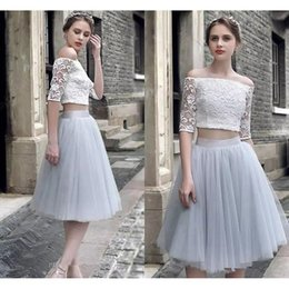 Wholesale Elegant Vintage Cocktail Dress - 2017 Elegant Two Pieces Lace Homecoming Dresses A Line Short Party Prom Cocktail Gowns Knee Length Tulle Skirt Off-the-Shoulder Formal Gowns