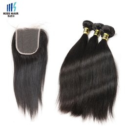 Wholesale Remy Hair Extensions Straight - High Quality 9A Remy Hair 3 Bundles with Closure Silky Straight Raw Virgin Indian Hair Brazilian Peruvian Unprocessed Human Hair Extensions