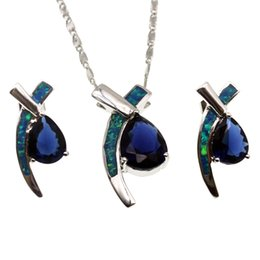 Wholesale 925 China Gold Earrings - 925 Sterling Silver Jewelry Sets Natural Opal Drop Blue Sapphire Pendant Necklace Earring Christmas Gifts OPJS1