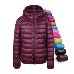 Wholesale Women Snow Jacket Xl - Winter Women Down Jacket Ultra Light Down Snow Coat Hooded 90% White Duck Down Jackets For Women Thin Feather Jacket camperas