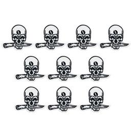 2020 cuchillos de hierro 10 UNIDS mordedura del cráneo del cráneo placa de parches para la ropa parche de moda de hierro para la ropa apliques accesorios de coser pegatinas en paño de hierro en el parche cuchillos de hierro baratos