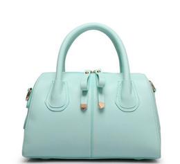 Wholesale Korean Models Bags - 2017 new Korean simple color handbag pillow bag PU leather Boston fashion wild handbags explosion models