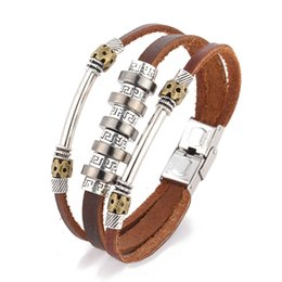 Wholesale Leather Word Bracelets - Fashion personality punk wind back to the word pattern leather bracelet men's pu leather bracelet leather hand jewelry wholesale