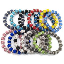 Wholesale Shambala Rhinestone Bracelets - 20pcs women's fashion handmade shambala rhinestone charms adjustable bracelet jewelry mix colors