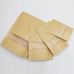 Ventana clara bolsas de regalo online-100 unids re-cerrables Kraft Bolsas de papel con mate claro ventana transparente DIY Wedding Candy Food bolsa de regalo