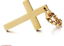 Wholesale Christian Gold Pendants - 30pcs Latin Christian Cross Pendants Necklaces Religious Jewelry 18K Gold Plated Stainless Steel Fashion Cross Jewelry Gift Accessories