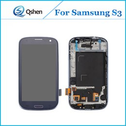 Wholesale Lcd Display For S3 - For Samsung Galaxy S3 i9300 Display Screen LCD Assembly Touch Digitizer with Frame Complete High Quality