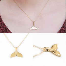 Wholesale Whale Charm Silver - New Fashion Women Creative Charm Vintage Whale Tail Pendant Necklace Lovely Chain Jewelry Party Gift Free Shipping