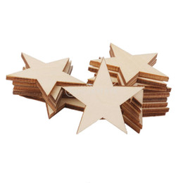 Wholesale Crafting Embellishments - Wholesale- SUNTEK 3mm Thick Star Shape Wooden Embellishments for DIY Crafts 25pcs 50mm Free Shipping