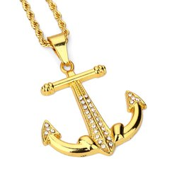 Wholesale Mens Anchor Necklaces - Fashion Trendy Mens Hip Hop Jewelry Anchor Pendant Necklaces Gold Plated Long Chains Necklace Filling Pieces Men Women