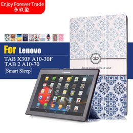 Wholesale Tablet Case Painting - Wholesale- Case For Lenovo Tab 2 A10-70F L Tablet Cover 10.1 inch Painted Stand Flip For Lenovo A10-30 X30F  tab3 10 business Tablet case