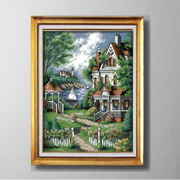 Wholesale Counting Tool - European style villa garden , Europe style Cross Stitch Needlework Sets Embroidery kits paintings counted printed on canvas DMC 14CT  11CT