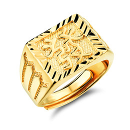 Suena buena suerte online-Personalidad para hombre Gold Plated Rectangle Ring Blessing en caracteres chinos Good Luck Gold Jewelry para hombres Hip Hop Jewelry