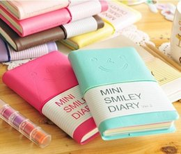 Wholesale Mini Memo Book - hot sale cute Mini Smiley Diary Notebook kawaii Memo Book leather Note Pads Stationery Pocket book pocket diary