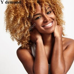 hair simulation Promo Codes - Top New BOB Short Golden Kinky Curly Full Wig Simulation Human Hair For Black Women Fashion Shorts Curl Full Head Hair Resistant