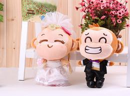 Wholesale Wedding Doll Monkey - Wholesale- stuffed animal plush 25cm lovers monkeys a pair plush toys yoyo and cici wedding soft doll wedding gift t6289
