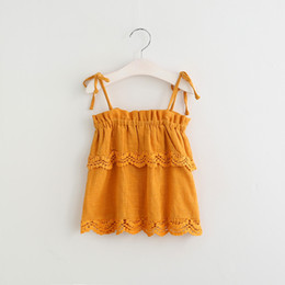 Wholesale Children Blouses - Everweekend Girls Summer Lace Tops Tees Ruffles Halter Multi Color Sweet Children Blouse Western Fashion Cute Baby Clothing