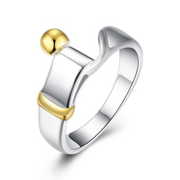 Wholesale Ladies Finger Ring Gold - Fashion 925 Silver Plated Rings Jewelry Elegant Gold Bead Pretty Ladies Women Finger Rings Size 8