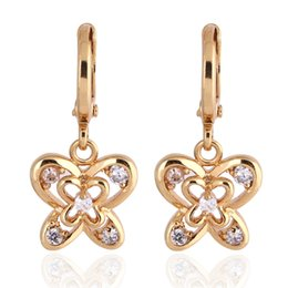 Wholesale Dangling Clear Rhinestone Earrings - 18K Yellow Gold Plated Clear Crystal Paved Cute Hollow Butterfly Dangle Earrings Hot Gift for Women Girls