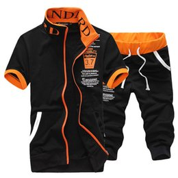 Wholesale Sports Hoodies For Men - Summer men short sleeve tracksuit print letters zipper fitness sporting suit hoodies and shorts for men free shipping