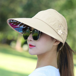 Wholesale Brim Design - 2018 Fashion Design Flower Size Adjustable Brimmed Sun Hat Summer Hats for Women Outdoor UV Protection