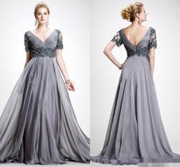Wholesale Elie Saab Knee - Elie Saab 2016 Women Formal Evening Gowns V Neck Short Sleeves Backless Lace Applique Floor Length Chiffon Mother Of Bride Dress Plus Size