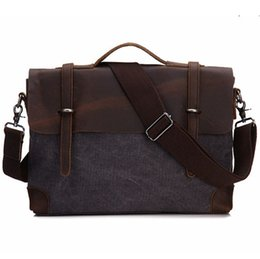 Wholesale Leather Briefcase Laptop - briefcase Real Leather Canvas Bags 14 inch Laptop Bag Retro Style Cross Body Messenger Bag Crazy Horse Leather Bags