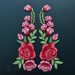 Wholesale Wholesale Embroidered Flower Appliques - Beautiful Rose Flower Floral Collar Sew Patch Applique Badge Embroidered Bust Dress Handmade Craft Ornament Fabric Sticker SK79
