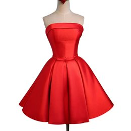 Wholesale Real Sample Mini Dress - Real Sample Red Short Prom Party Dress New A Line Strapless Satin Mini Evening Party Dresses With Lace Up Back Custom Made