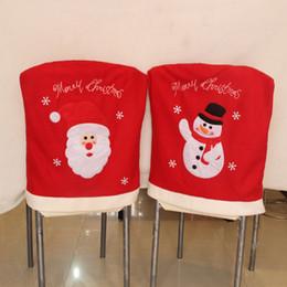 Wholesale Table Cloths Design - 2Pcs  Set Christmas Decoration Supplies Snowman Santa Design Chair Covers Hotel Home Dining Table Chair Ornaments
