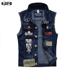 Wholesale Denim Vests For Men - Wholesale- 2016 Mens Fashion Hip Hop Urban Style Denim Vest Patchwork Letter Emboridery Slim Fit Sleeveless Jacket For Men