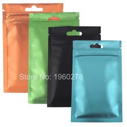 Wholesale Fast Food Bags - Fast shipping 100pcs lot matte front hang hole aluminium foil mylar pouches heat recloseable colored ziplock bags 10cmx18cm