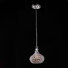 Wholesale Lustres Pendentes Led - Single Head 5w AC85-265v modern crystal pendant light lustres pendentes home decor fixture lighting Dia18cm crystal lamp