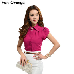Wholesale Office Blouses Collars - Fun Orange New Lady Office Shirt Work Wear Women's Tops Butterfly Short Sleeve Turn-Down Collar Rose Red White Women Blouse q170638