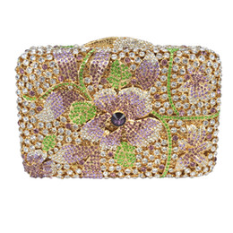 Wholesale Handmade Purse Crystal - Wholesale- LaiSC Golden crystal bags wedding clutch bags Luxury diamante evening bags handmade soiree pochette sparkly party purse SC236