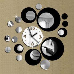 Wholesale Modern Art Mirrors - Wholesale- Modern Design DIY 3D Mirror Wall Clock Sticker Removable Wall Watch Art Home Office Decor