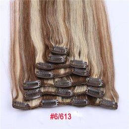 "Wholesale Highlighted Remy Hair - Remy Human Hair 15"" 18"" 20"" 22"" Clip hair extension Natural Color optional 70g 100g Light Color Highlight Color MoonBay Hair"